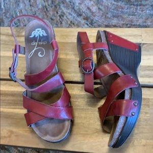 Dansko red leather wedge sandals size 39